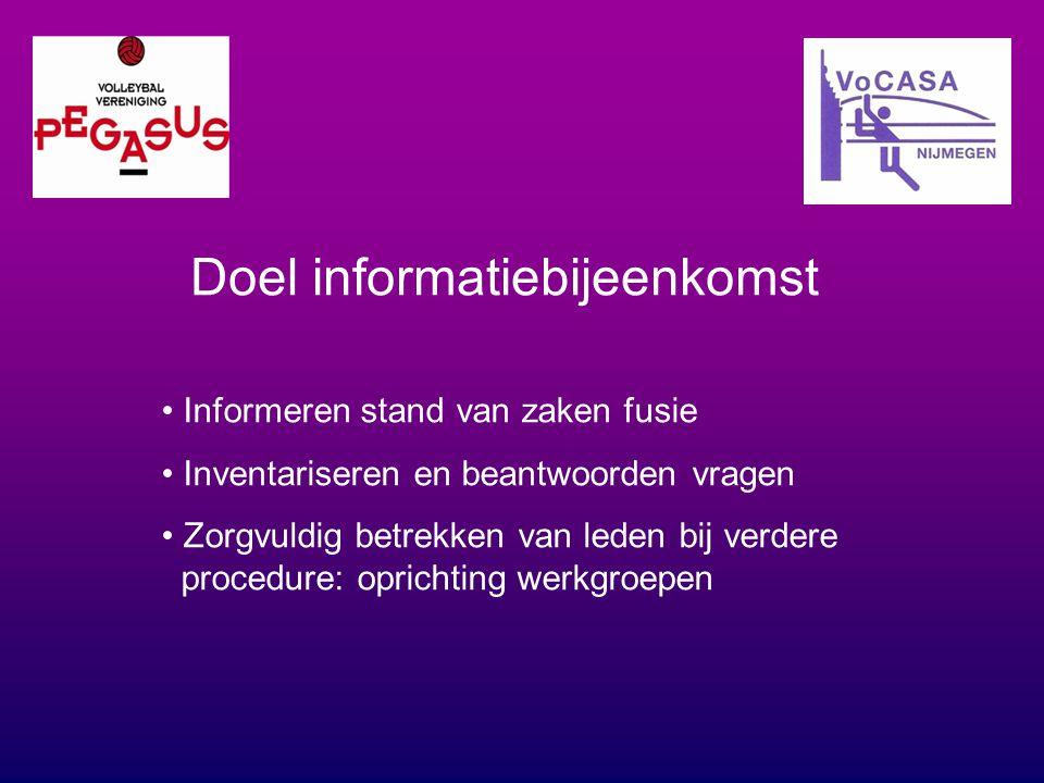 Doel informatiebijeenkomst Informeren stand van zaken fusie Inventariseren en beantwoorden vragen Zorgvuldig betrekken van leden bij verdere procedure