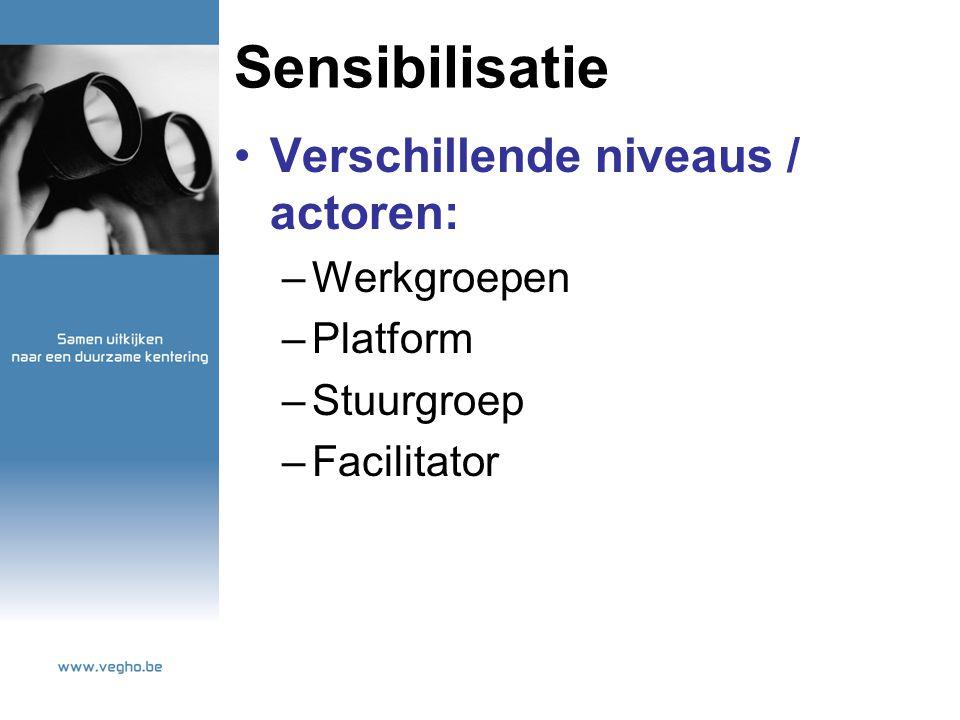 Sensibilisatie Verschillende niveaus / actoren: –Werkgroepen –Platform –Stuurgroep –Facilitator