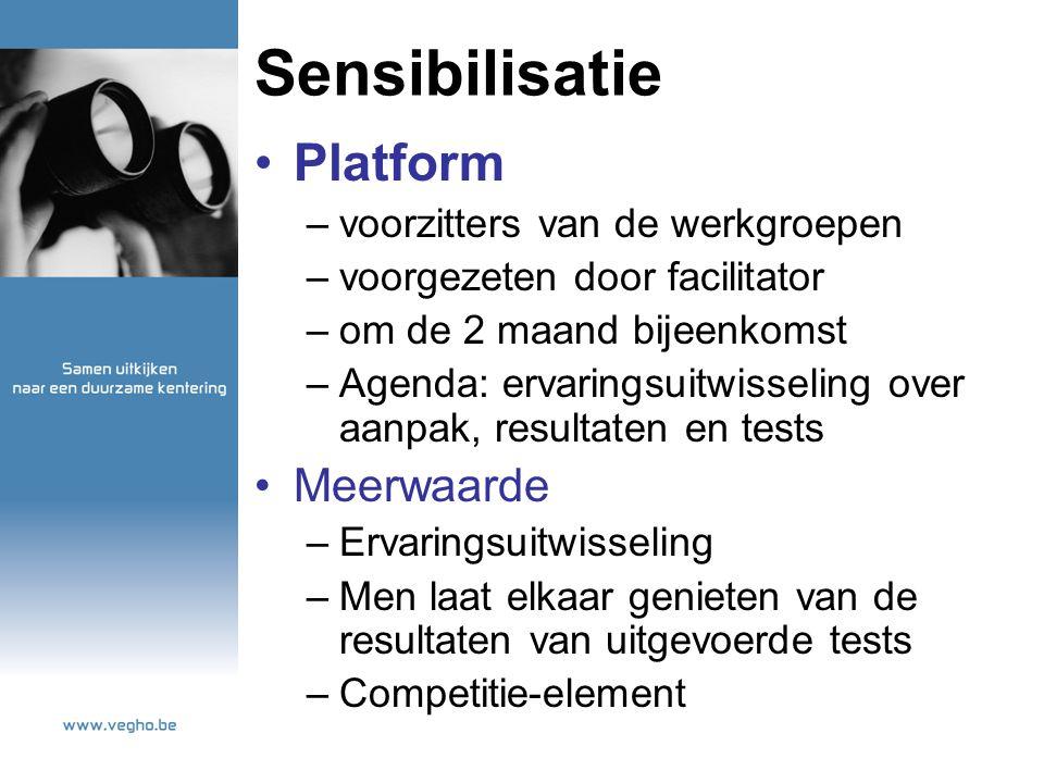 Sensibilisatie Platform –voorzitters van de werkgroepen –voorgezeten door facilitator –om de 2 maand bijeenkomst –Agenda: ervaringsuitwisseling over a