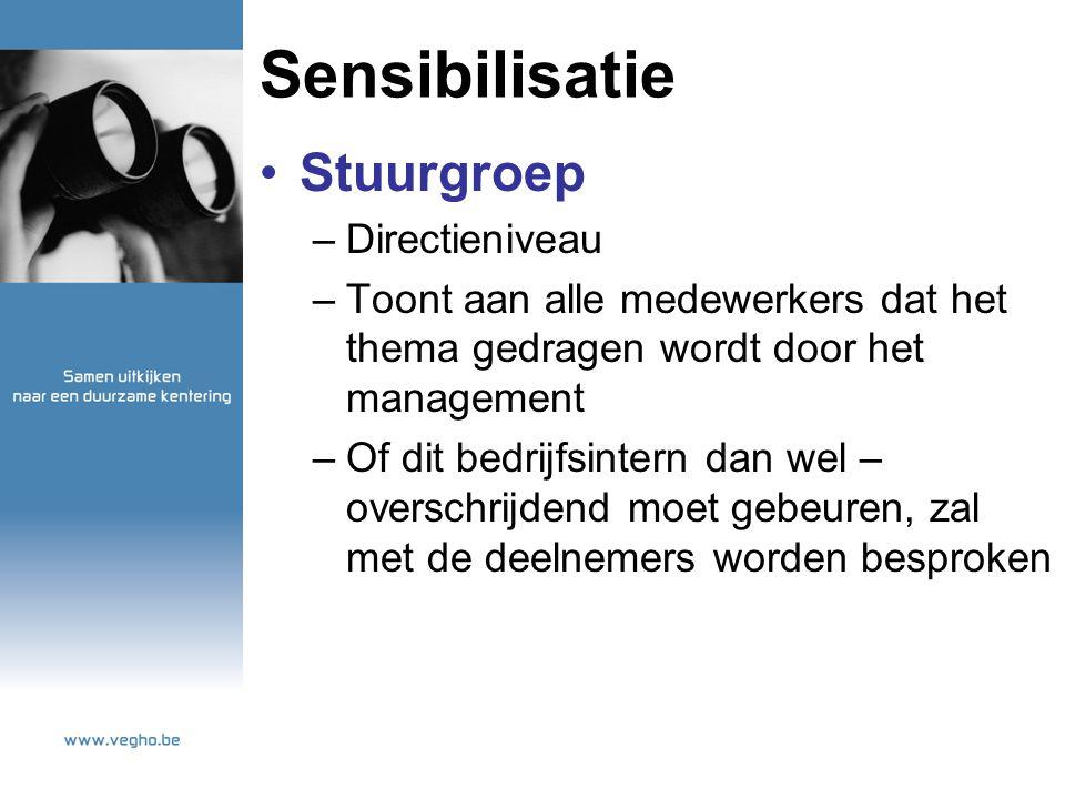 Sensibilisatie Stuurgroep –Directieniveau –Toont aan alle medewerkers dat het thema gedragen wordt door het management –Of dit bedrijfsintern dan wel