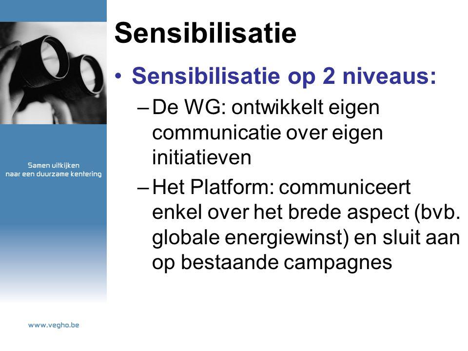 Sensibilisatie Sensibilisatie op 2 niveaus: –De WG: ontwikkelt eigen communicatie over eigen initiatieven –Het Platform: communiceert enkel over het brede aspect (bvb.
