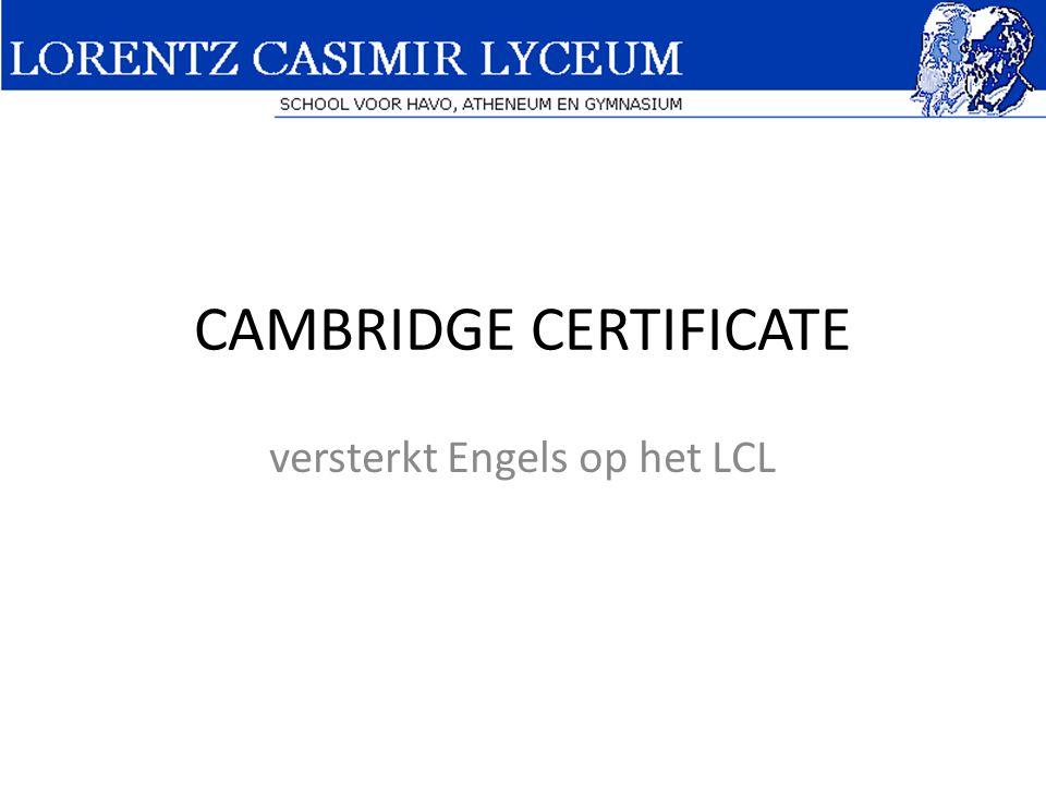 CAMBRIDGE CERTIFICATE versterkt Engels op het LCL