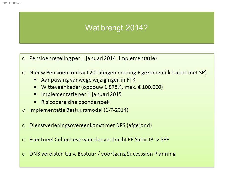 CONFIDENTIAL Wat brengt 2014? o Pensioenregeling per 1 januari 2014 (implementatie) o Nieuw Pensioencontract 2015(eigen mening + gezamenlijk traject m