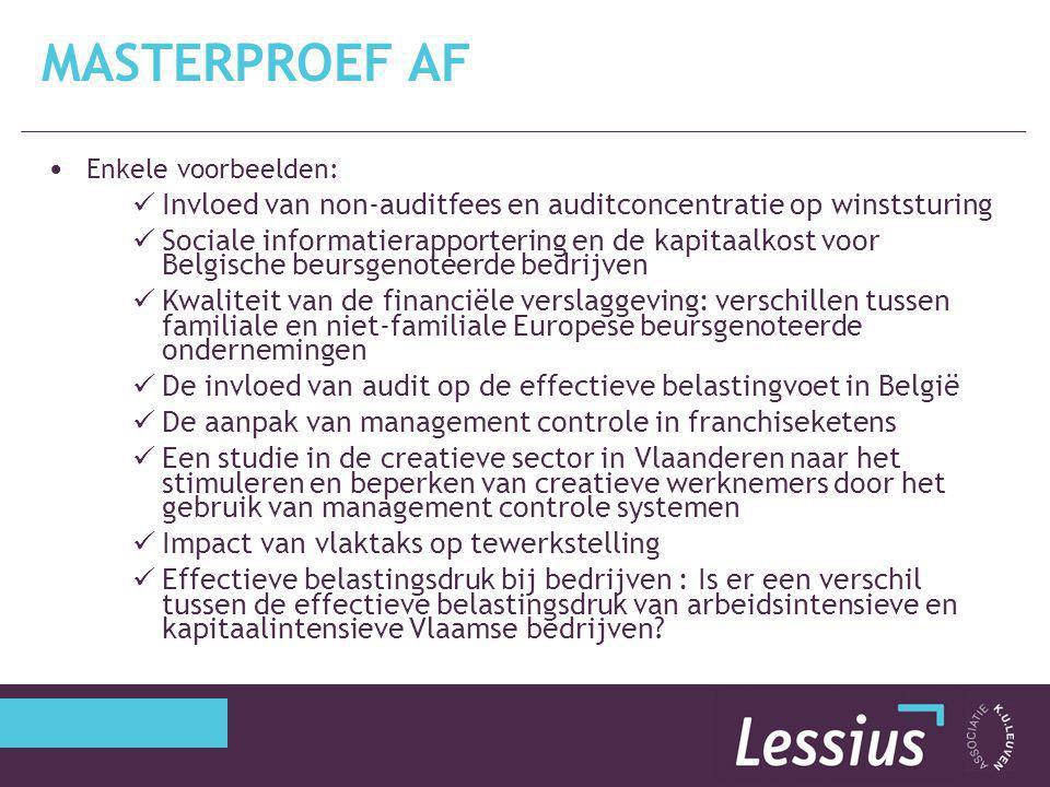 Enkele voorbeelden: Invloed van non-auditfees en auditconcentratie op winststuring Sociale informatierapportering en de kapitaalkost voor Belgische be