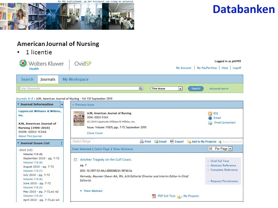 American Journal of Nursing 1 licentie Databanken