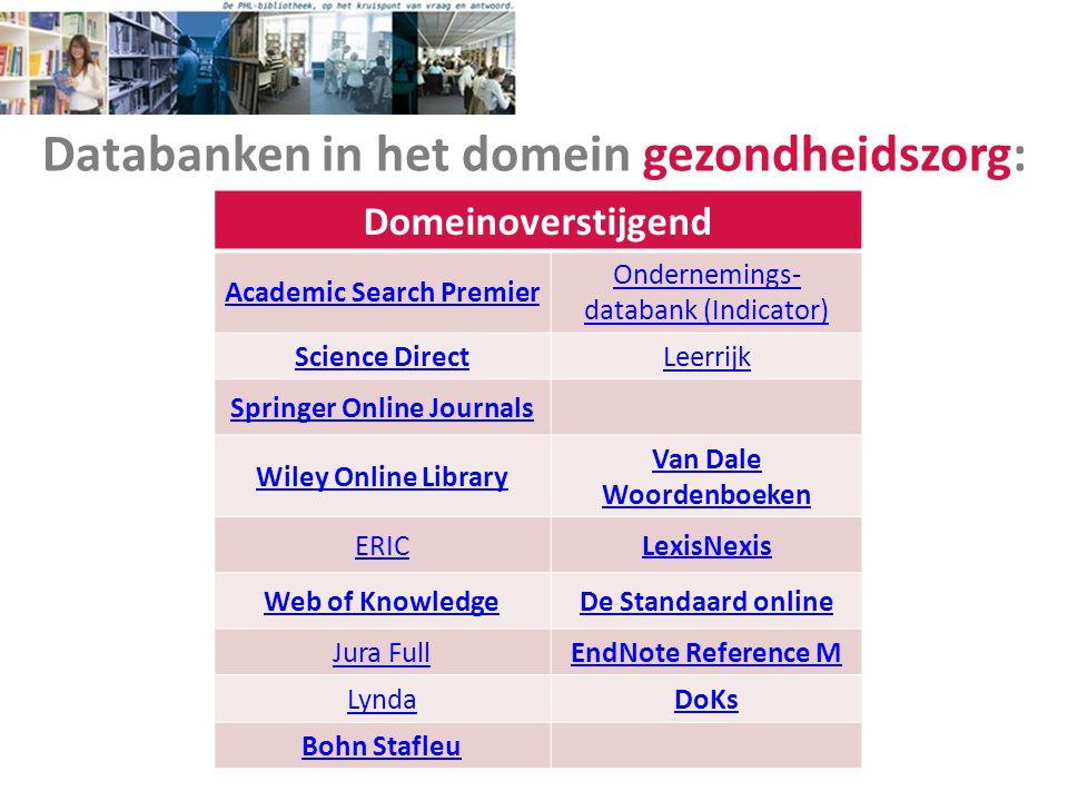 Databanken in het domein gezondheidszorg: Domeinoverstijgend Academic Search Premier Ondernemings- databank (Indicator) Science DirectLeerrijk Springe
