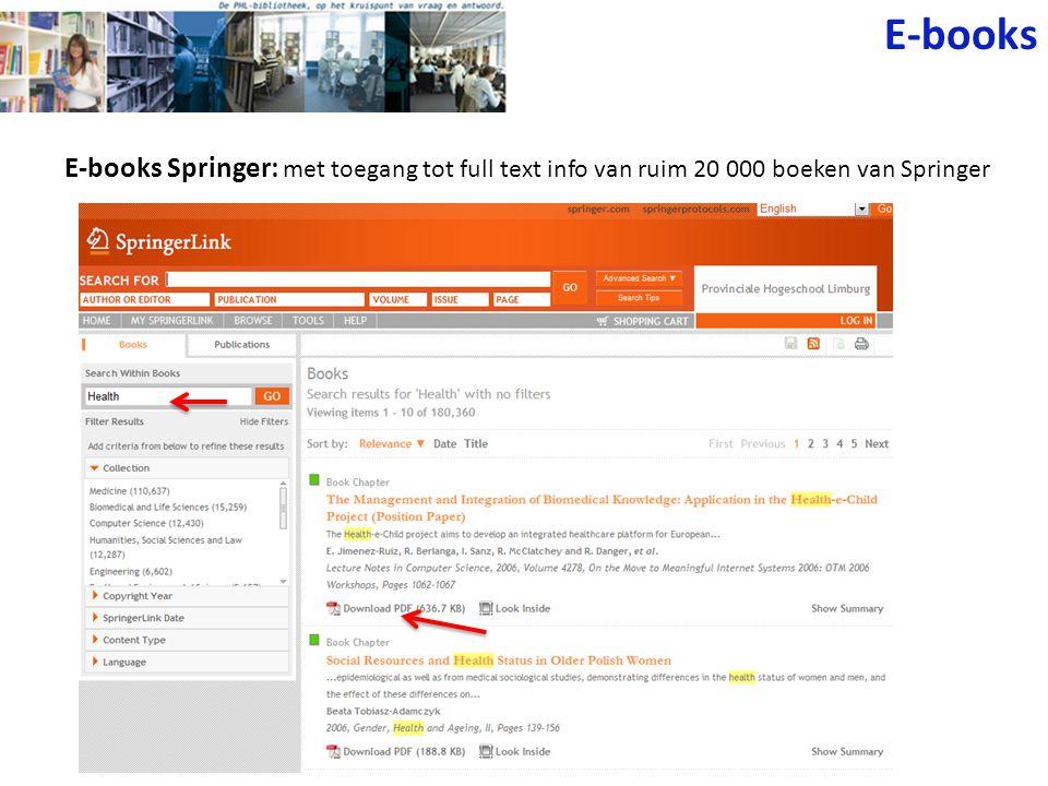 E-books E-books Springer: met toegang tot full text info van ruim 20 000 boeken van Springer