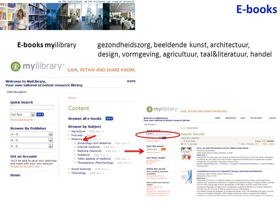E-books E-books myilibrary gezondheidszorg, beeldende kunst, architectuur, design, vormgeving, agricultuur, taal&literatuur, handel