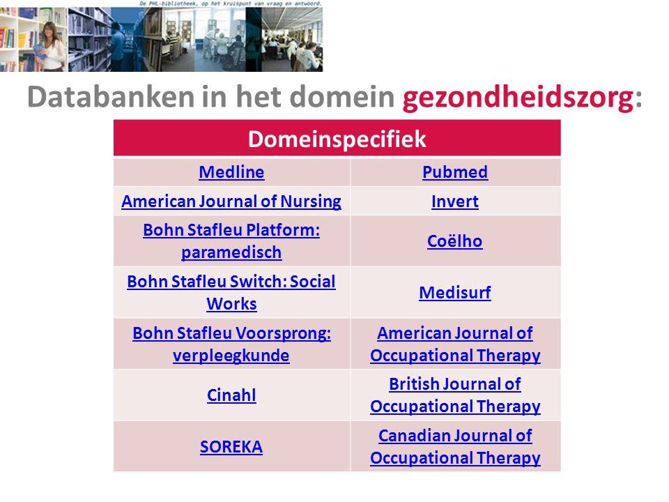 Databanken in het domein gezondheidszorg: Domeinspecifiek MedlinePubmed American Journal of NursingInvert Bohn Stafleu Platform: paramedisch Coëlho Bo
