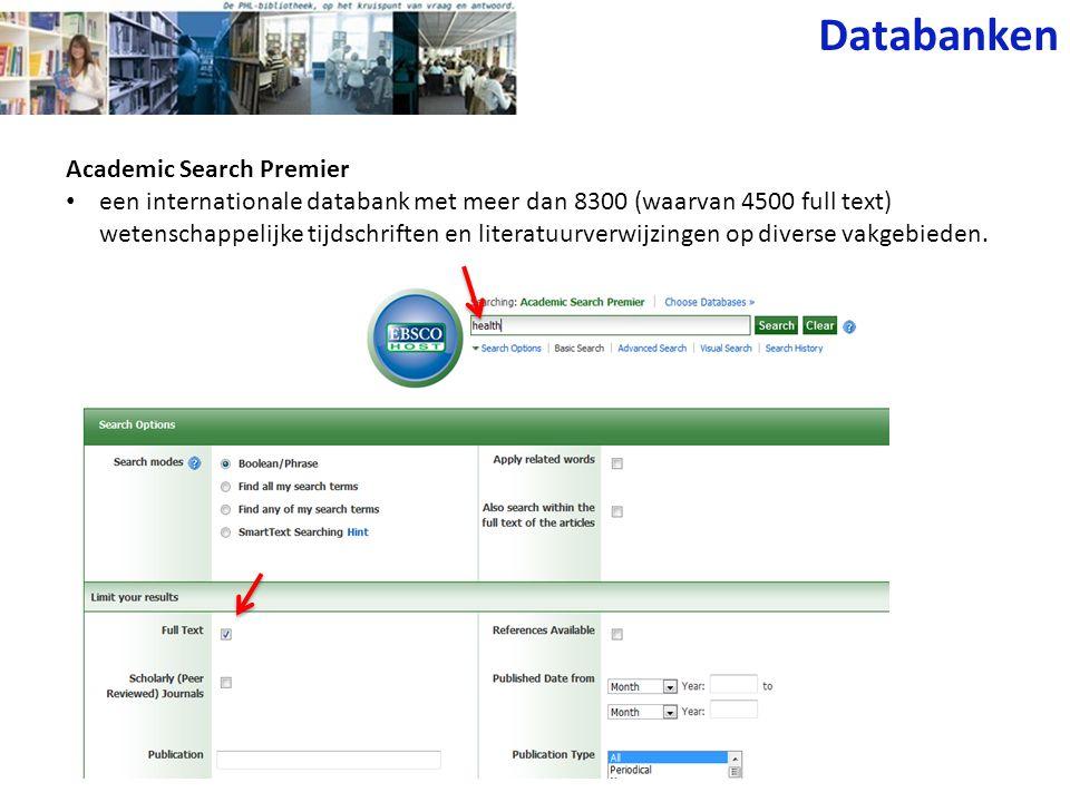 Cinahl: bibliografisch + fulltext Toegang via IP-adres (1 user) Databanken SOREKA (sociale kaart) SOKA: sociaal referentie kanaal = sociale kaart van Vlaanderen, via Kluwer connexion.