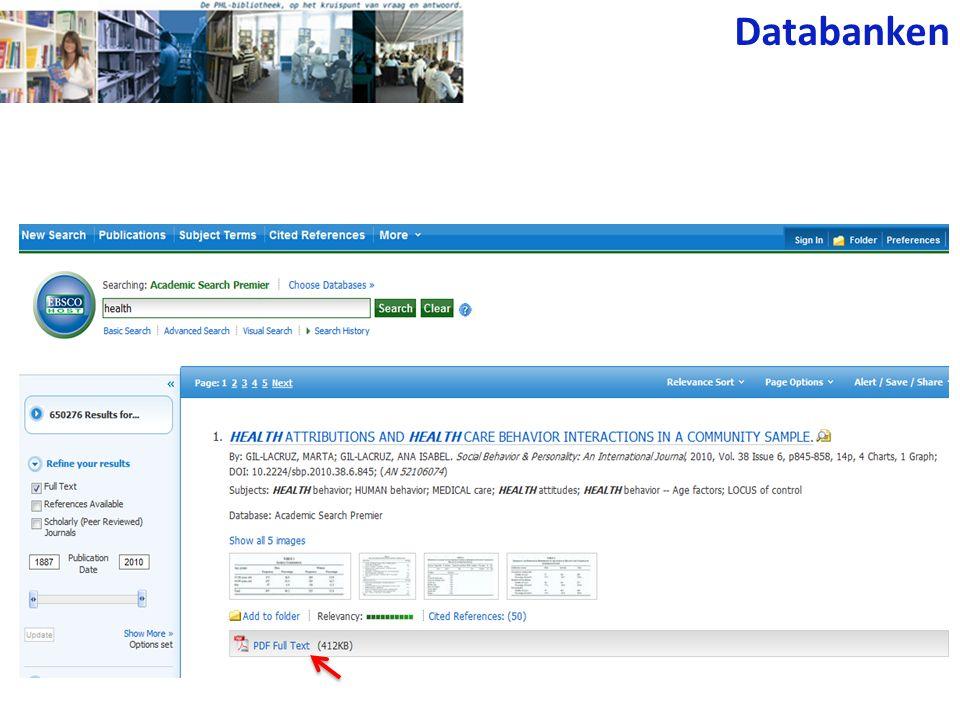 of zoeken via Publications Databanken