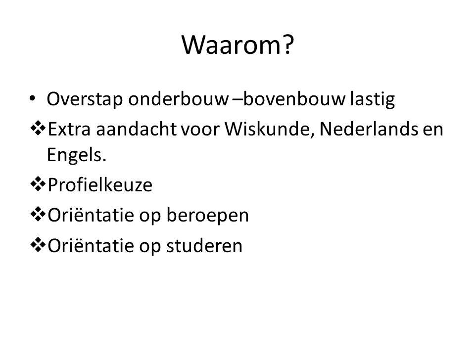 Waarom? Overstap onderbouw –bovenbouw lastig  Extra aandacht voor Wiskunde, Nederlands en Engels.  Profielkeuze  Oriëntatie op beroepen  Oriëntati