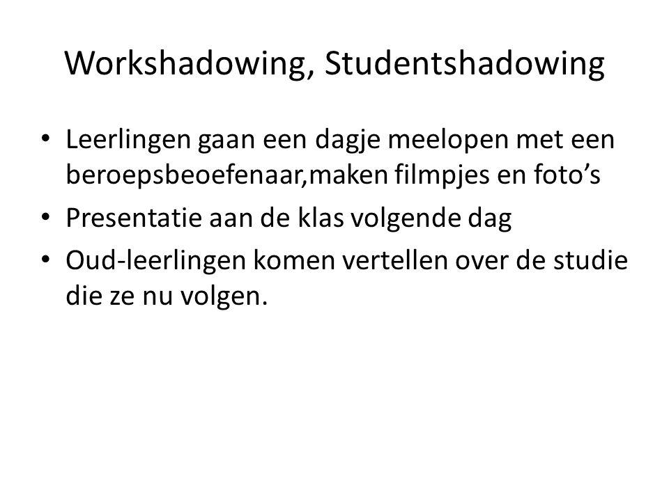 Workshadowing, Studentshadowing Leerlingen gaan een dagje meelopen met een beroepsbeoefenaar,maken filmpjes en foto's Presentatie aan de klas volgende