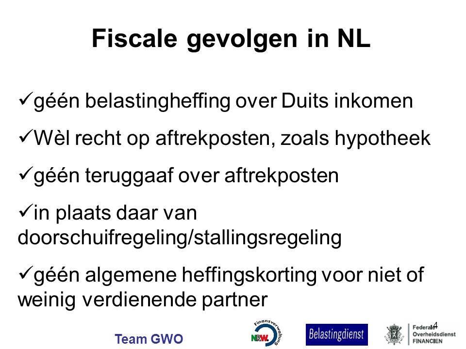 Team GWO Fiscale gevolgen in NL géén belastingheffing over Duits inkomen Wèl recht op aftrekposten, zoals hypotheek géén teruggaaf over aftrekposten i