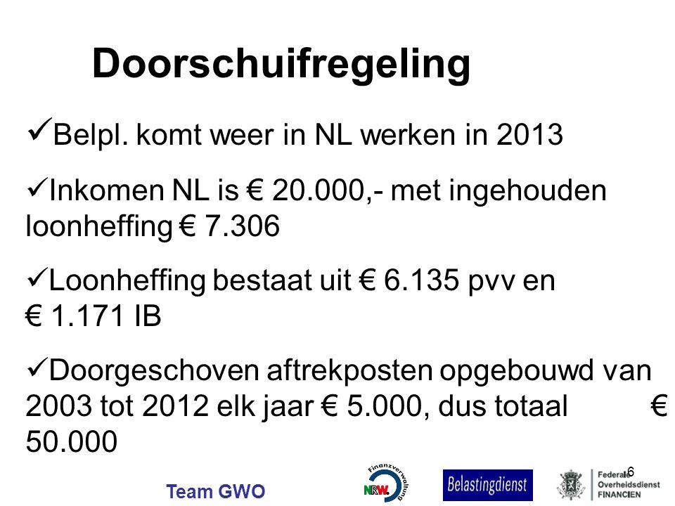 Team GWO Belpl. komt weer in NL werken in 2013 Inkomen NL is € 20.000,- met ingehouden loonheffing € 7.306 Loonheffing bestaat uit € 6.135 pvv en € 1.