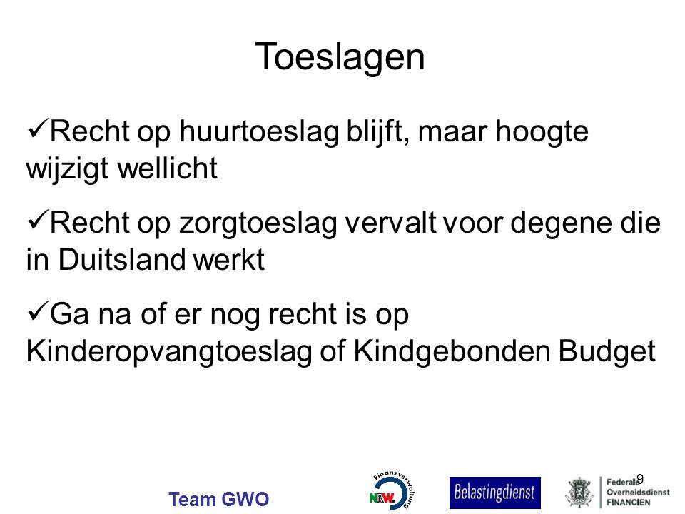 Team GWO Toeslagen Recht op huurtoeslag blijft, maar hoogte wijzigt wellicht Recht op zorgtoeslag vervalt voor degene die in Duitsland werkt Ga na of
