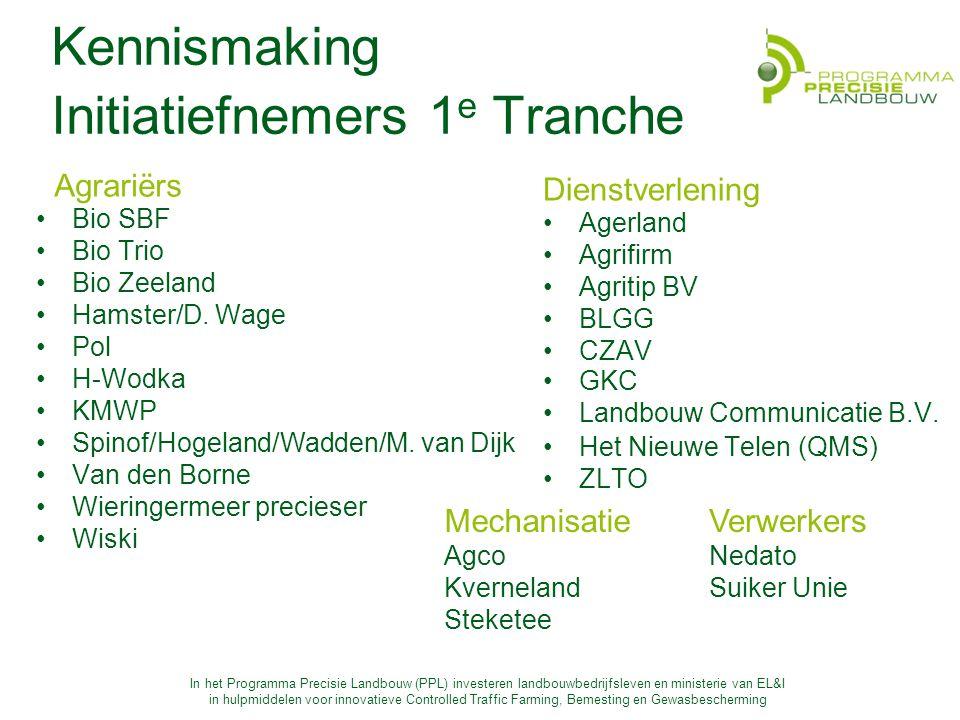 In het Programma Precisie Landbouw (PPL) investeren landbouwbedrijfsleven en ministerie van EL&I in hulpmiddelen voor innovatieve Controlled Traffic Farming, Bemesting en Gewasbescherming Kennismaking Initiatiefnemers 1 e Tranche Agrariërs Bio SBF Bio Trio Bio Zeeland Hamster/D.