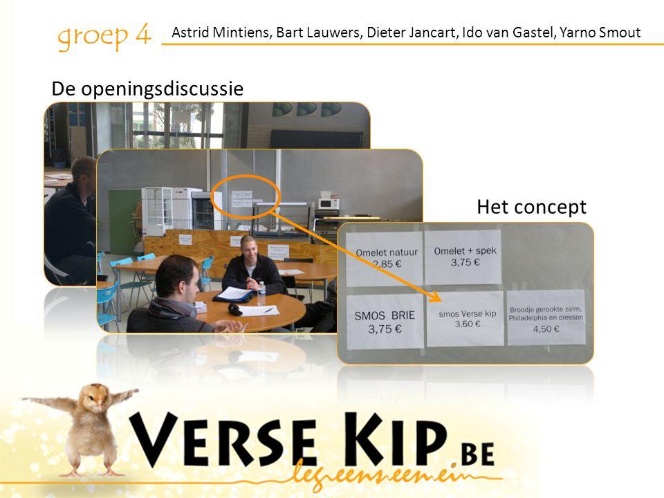 Astrid Mintiens, Bart Lauwers, Dieter Jancart, Ido van Gastel, Yarno Smout groep 4 De openingsdiscussie Het concept