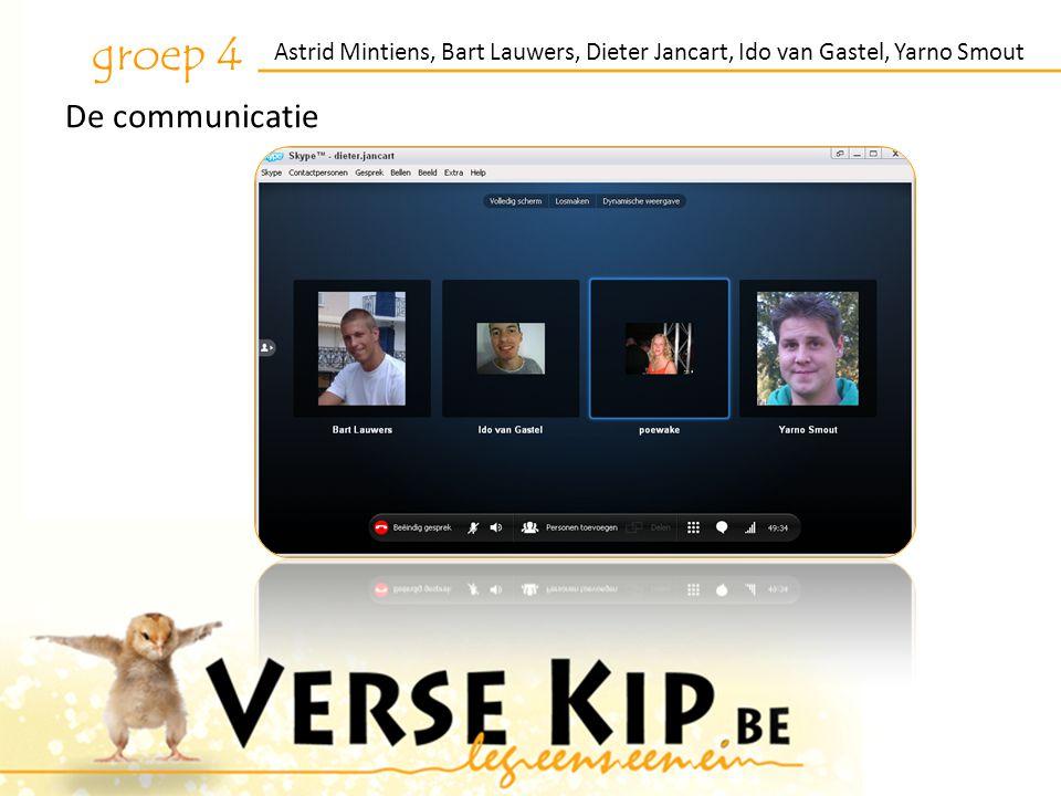 Astrid Mintiens, Bart Lauwers, Dieter Jancart, Ido van Gastel, Yarno Smout groep 4 De communicatie