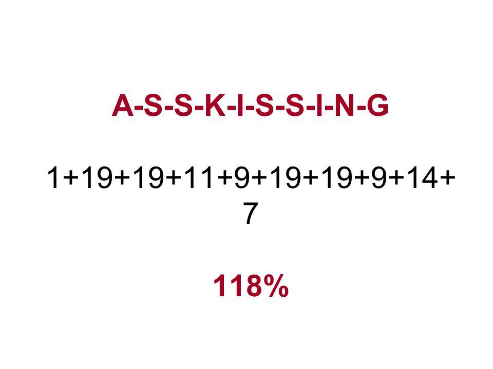 A-S-S-K-I-S-S-I-N-G 1+19+19+11+9+19+19+9+14+ 7 118%