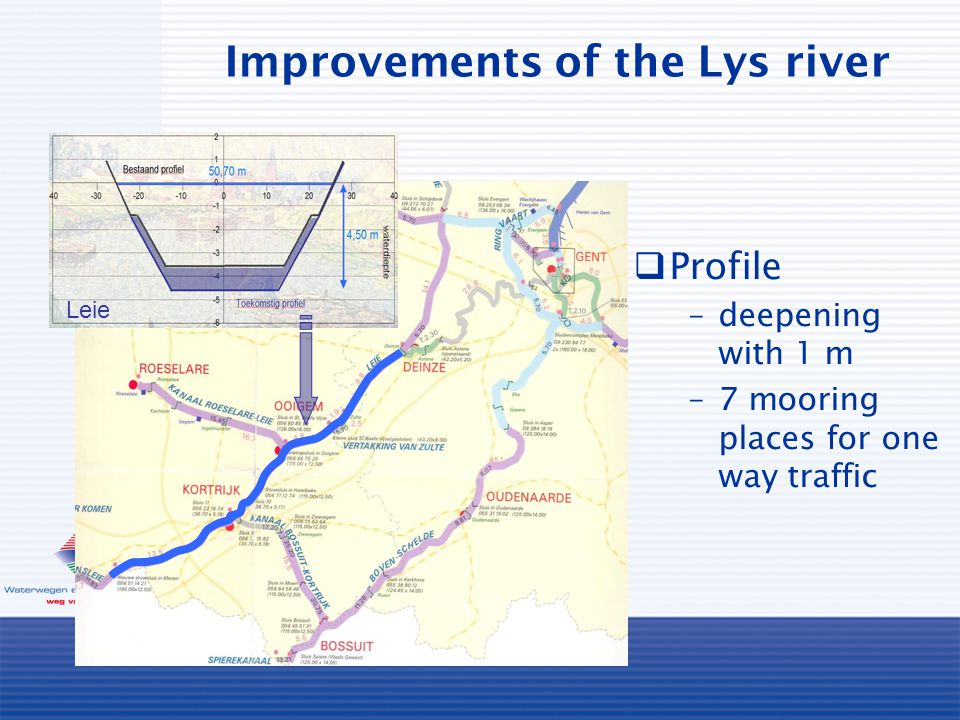 Improvements of the Lys river Leie  Profile –deepening with 1 m –7 mooring places for one way traffic