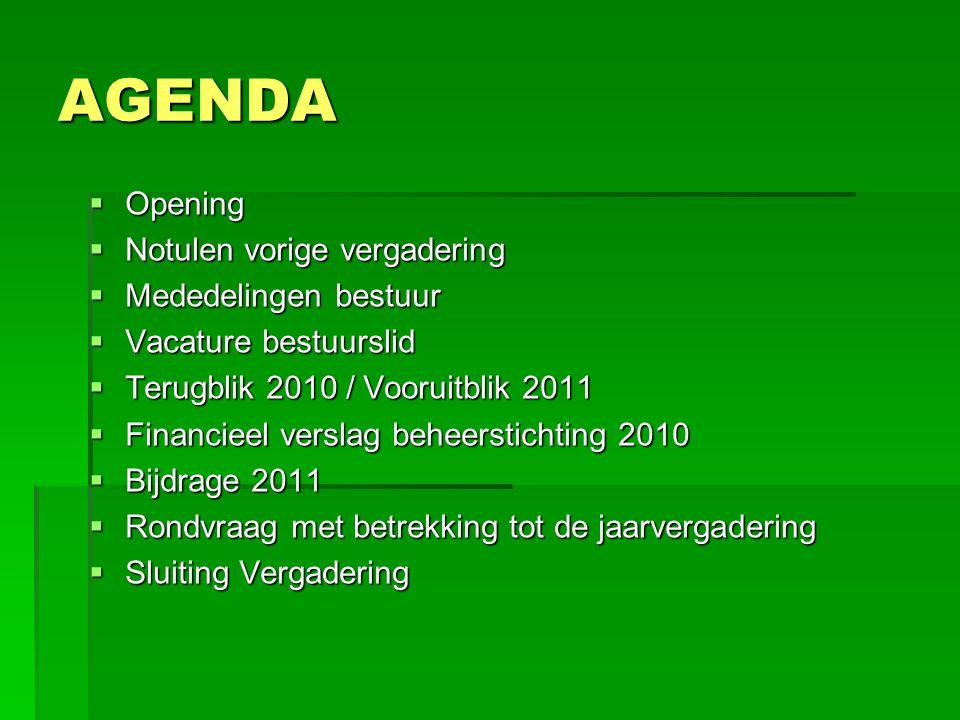 AGENDA  Opening  Notulen vorige vergadering  Mededelingen bestuur  Vacature bestuurslid  Terugblik 2010 / Vooruitblik 2011  Financieel verslag b