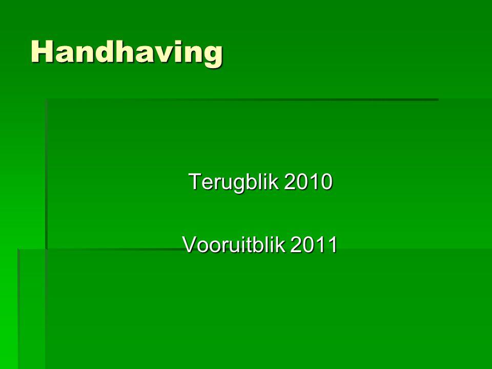 Handhaving Terugblik 2010 Vooruitblik 2011