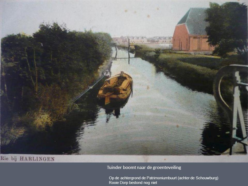 Tuinder boomt naar de groenteveiling Op de achtergrond de Patrimoniumbuurt (achter de Schouwburg) Rooie Dorp bestond nog niet