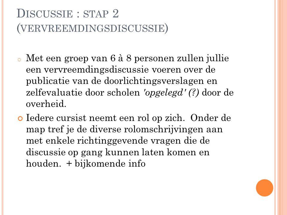 D ISCUSSIE : STAP 2 ( VERVREEMDINGSDISCUSSIE ) o Met een groep van 6 à 8 personen zullen jullie een vervreemdingsdiscussie voeren over de publicatie v