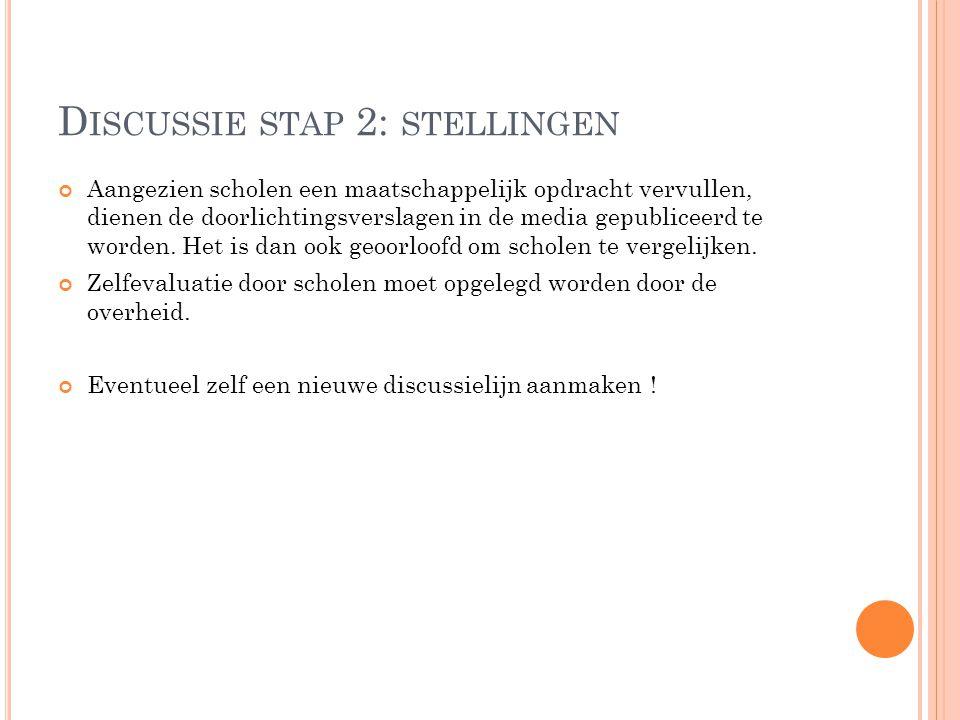 D ISCUSSIE STAP 2: STELLINGEN Aangezien scholen een maatschappelijk opdracht vervullen, dienen de doorlichtingsverslagen in de media gepubliceerd te w