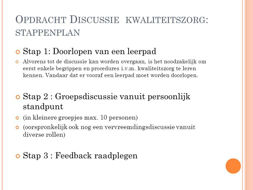 O PDRACHT D ISCUSSIE KWALITEITSZORG : STAPPENPLAN Stap 1: Doorlopen van een leerpad Alvorens tot de discussie kan worden overgaan, is het noodzakelijk