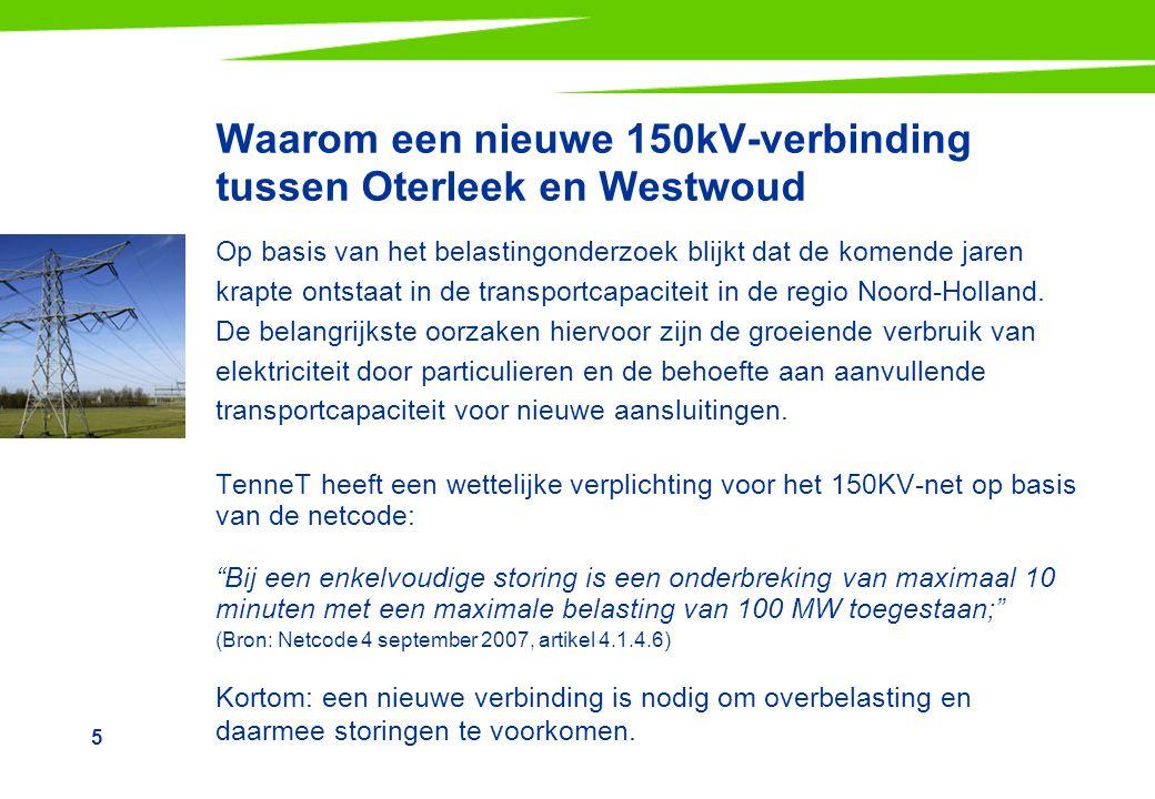 5 Waarom een nieuwe 150kV-verbinding tussen Oterleek en Westwoud Op basis van het belastingonderzoek blijkt dat de komende jaren krapte ontstaat in de transportcapaciteit in de regio Noord-Holland.