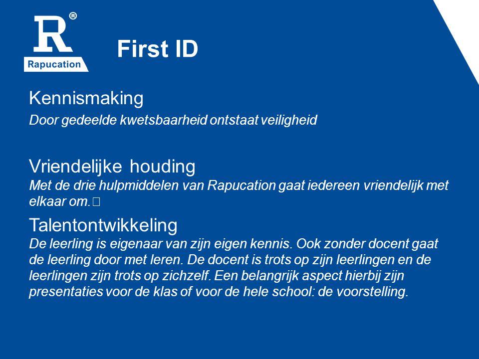First ID Kennismaking Door gedeelde kwetsbaarheid ontstaat veiligheid Vriendelijke houding Met de drie hulpmiddelen van Rapucation gaat iedereen vriendelijk met elkaar om.