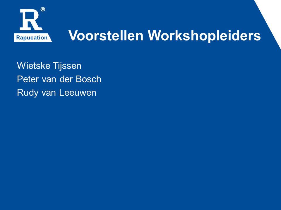 Voorstellen Workshopleiders Wietske Tijssen Peter van der Bosch Rudy van Leeuwen