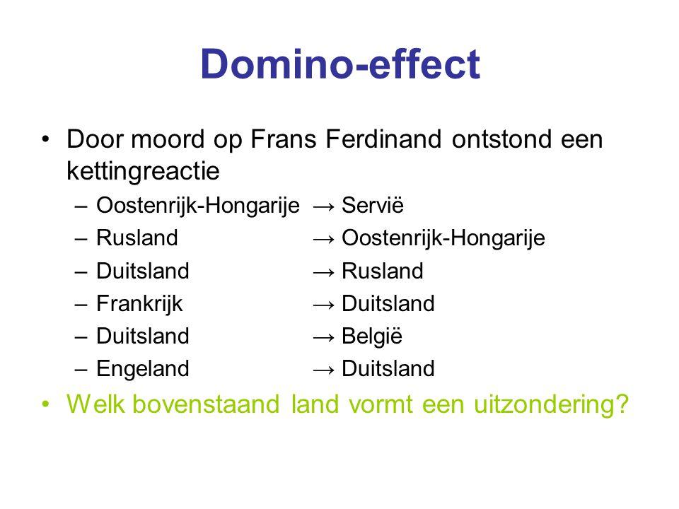 Domino-effect Door moord op Frans Ferdinand ontstond een kettingreactie –Oostenrijk-Hongarije → Servië –Rusland → Oostenrijk-Hongarije –Duitsland → Ru