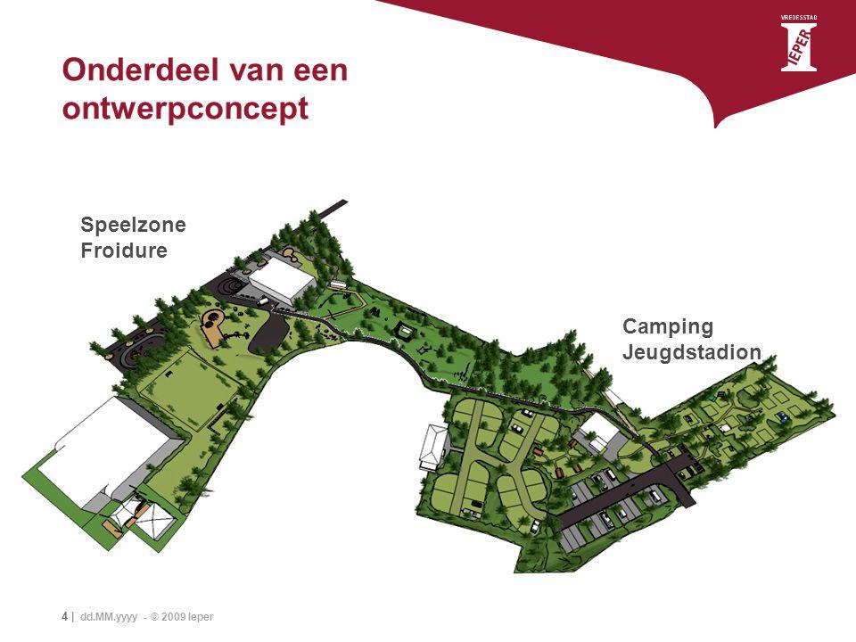 4 | dd.MM.yyyy - © 2009 Ieper Onderdeel van een ontwerpconcept Speelzone Froidure Camping Jeugdstadion