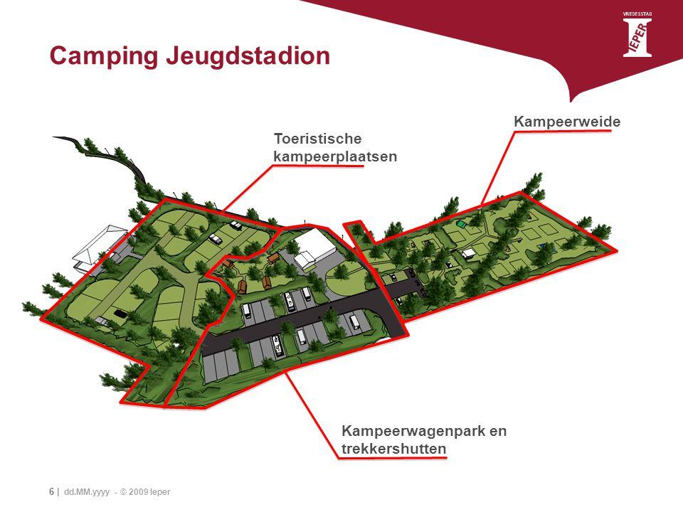 6 | dd.MM.yyyy - © 2009 Ieper Camping Jeugdstadion Kampeerweide Toeristische kampeerplaatsen Kampeerwagenpark en trekkershutten