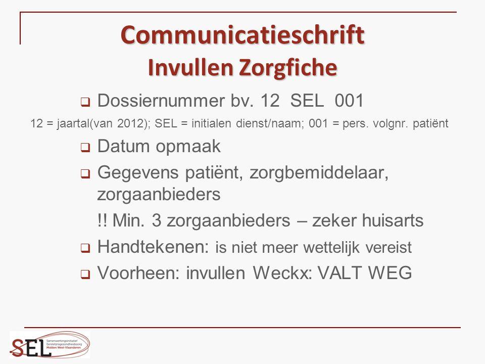Communicatieschrift Invullen Zorgfiche  Dossiernummer bv. 12 SEL 001 12 = jaartal(van 2012); SEL = initialen dienst/naam; 001 = pers. volgnr. patiënt
