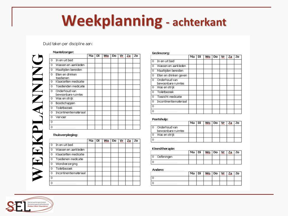 Weekplanning - achterkant