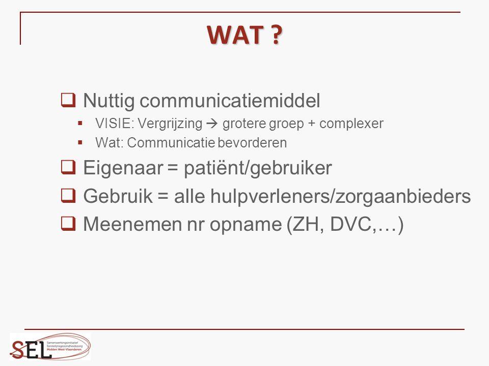 WAT ?  Nuttig communicatiemiddel  VISIE: Vergrijzing  grotere groep + complexer  Wat: Communicatie bevorderen  Eigenaar = patiënt/gebruiker  Geb