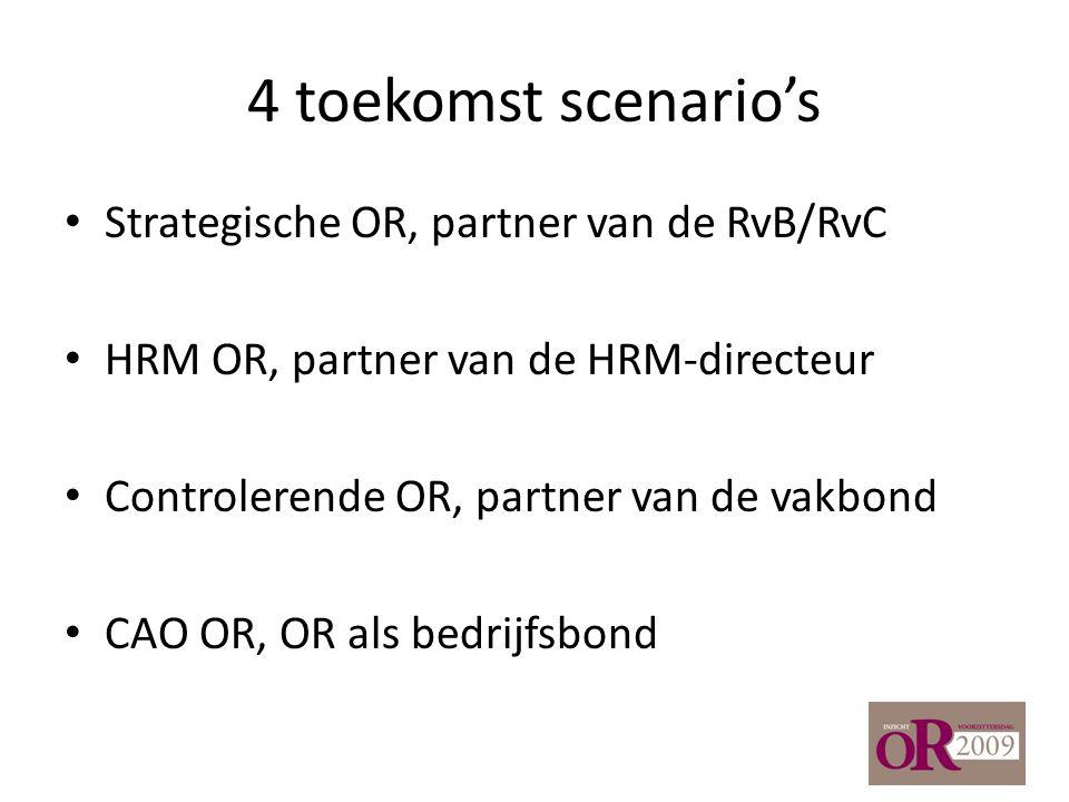 4 toekomst scenario's Strategische OR, partner van de RvB/RvC HRM OR, partner van de HRM-directeur Controlerende OR, partner van de vakbond CAO OR, OR als bedrijfsbond
