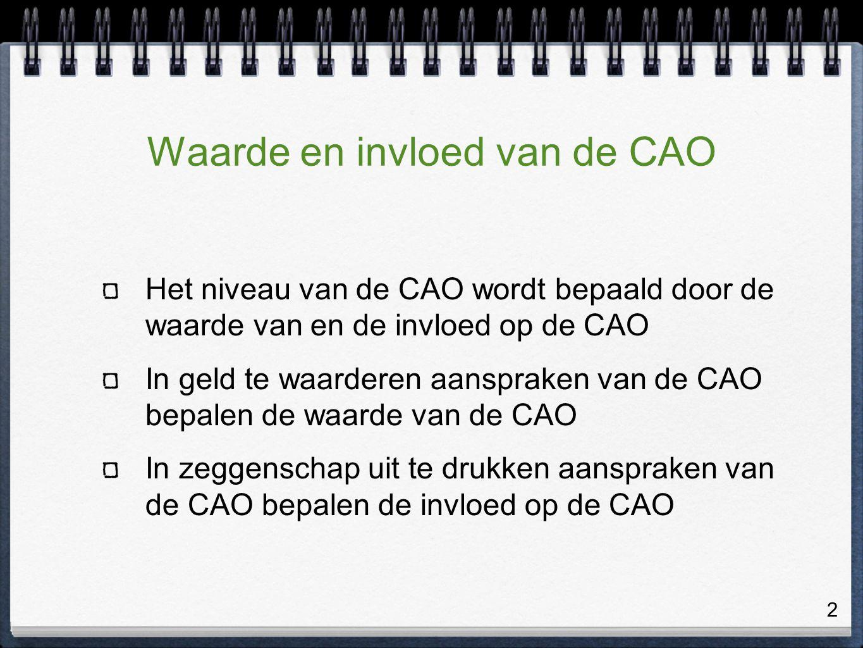 2 Waarde en invloed van de CAO Het niveau van de CAO wordt bepaald door de waarde van en de invloed op de CAO In geld te waarderen aanspraken van de CAO bepalen de waarde van de CAO In zeggenschap uit te drukken aanspraken van de CAO bepalen de invloed op de CAO