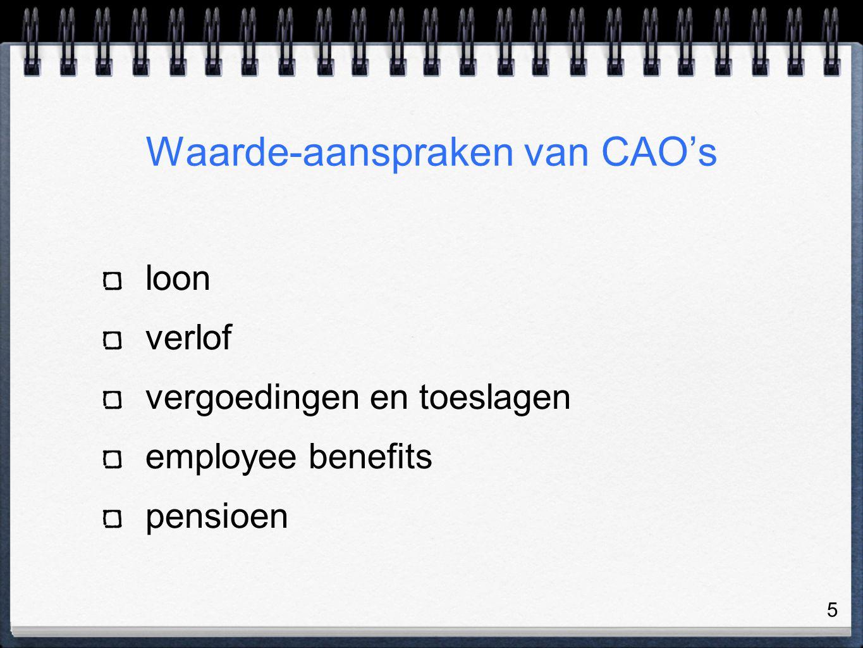 5 Waarde-aanspraken van CAO's loon verlof vergoedingen en toeslagen employee benefits pensioen