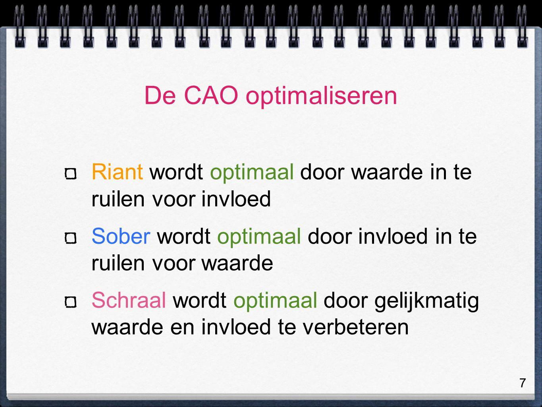 7 De CAO optimaliseren Riant wordt optimaal door waarde in te ruilen voor invloed Sober wordt optimaal door invloed in te ruilen voor waarde Schraal wordt optimaal door gelijkmatig waarde en invloed te verbeteren