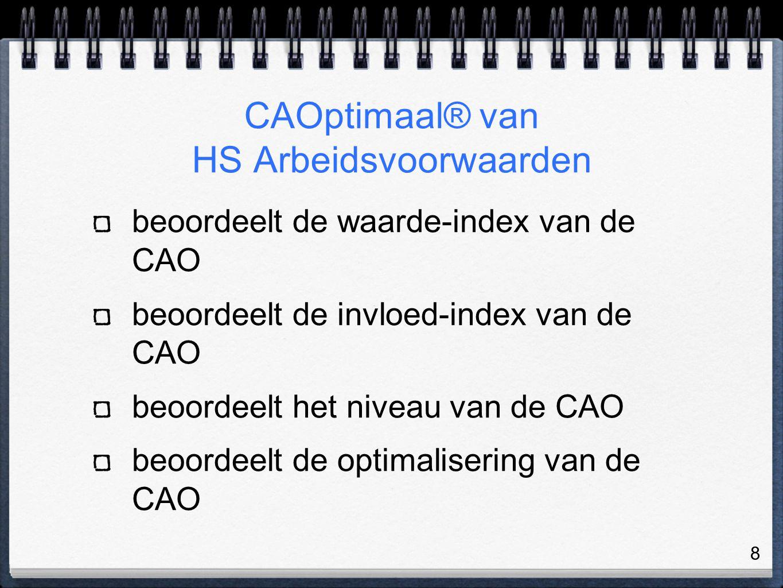 8 CAOptimaal® van HS Arbeidsvoorwaarden beoordeelt de waarde-index van de CAO beoordeelt de invloed-index van de CAO beoordeelt het niveau van de CAO beoordeelt de optimalisering van de CAO