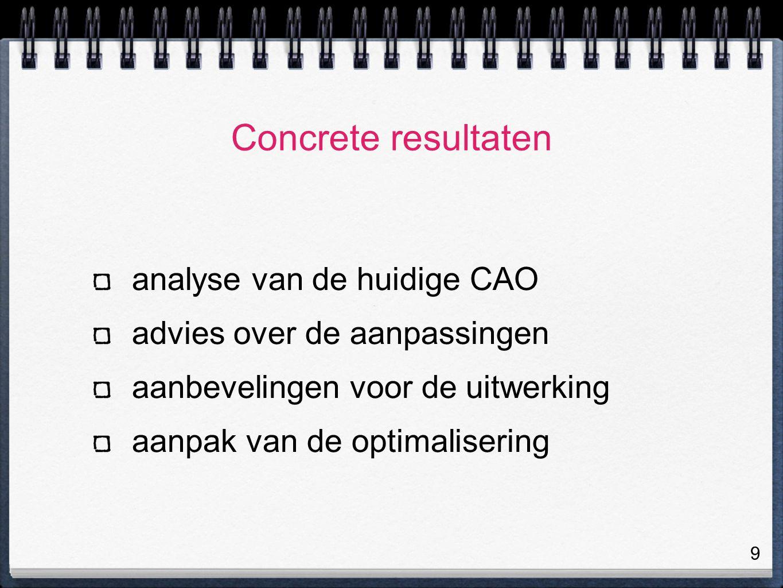 9 Concrete resultaten analyse van de huidige CAO advies over de aanpassingen aanbevelingen voor de uitwerking aanpak van de optimalisering