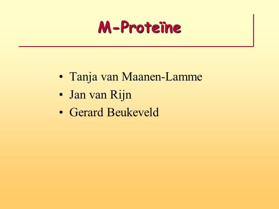 Soorten M-proteïne Immunofixatie met antistoffen tegen de soorten immuunglobulinen (IgG, IgA, IgM, Kappa en Lambda) (IgD en IgE zelf opletten).