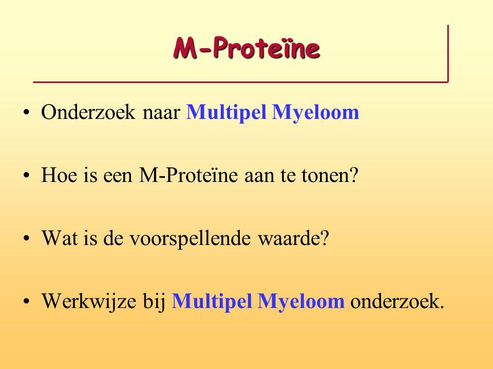 M-Proteïne Onderzoek naar Multipel Myeloom Hoe is een M-Proteïne aan te tonen? Wat is de voorspellende waarde? Werkwijze bij Multipel Myeloom onderzoe