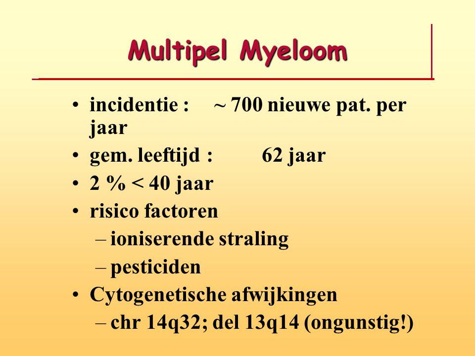 Multipel Myeloom incidentie : ~ 700 nieuwe pat. per jaar gem. leeftijd : 62 jaar 2 % < 40 jaar risico factoren –ioniserende straling –pesticiden Cytog
