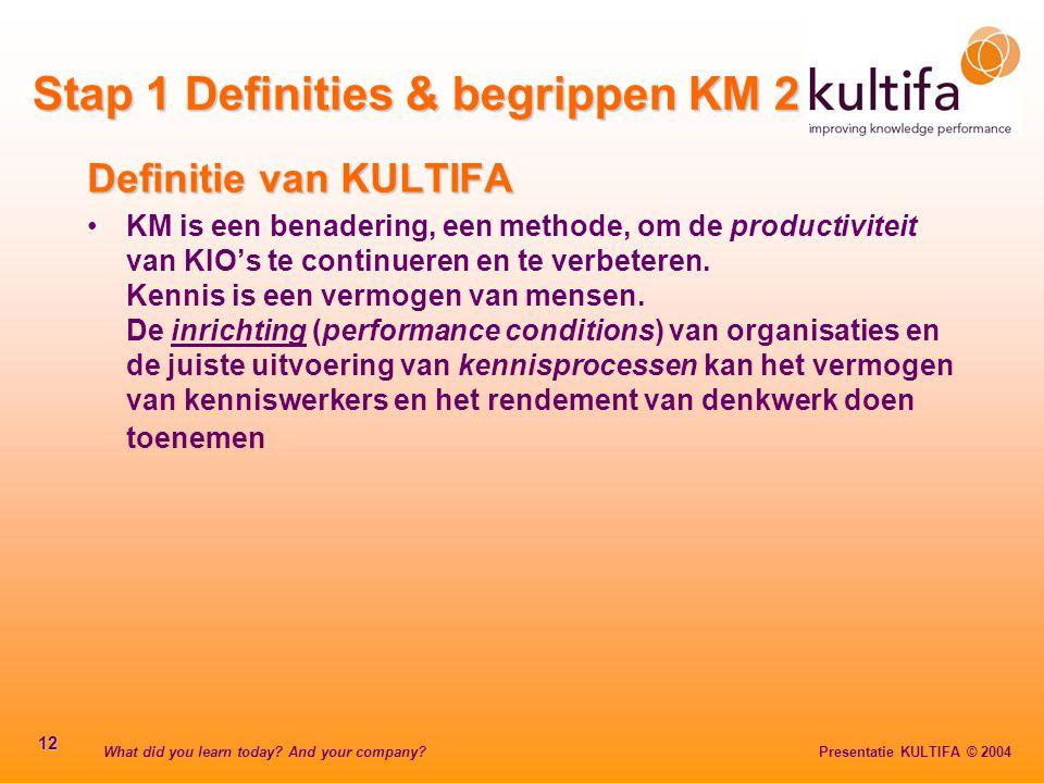 What did you learn today? And your company? Presentatie KULTIFA © 2004 12 Definitie van KULTIFA KM is een benadering, een methode, om de productivitei
